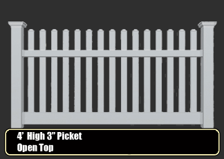 "vinyl picket fence - 1.5"" spindle open top"