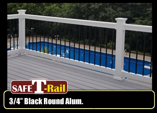 Vinyl Railing - Certified Railing System - Round Aluminum Spindle